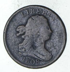 1808 DRAPED BUST HALF CENT   CIRCULATED  9330