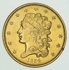 1834 $5.00 CLASSIC HEAD GOLD HALF EAGLE   NOT CIRCULATED  4257