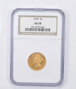 AU58 1878 $3.00 INDIAN PRINCESS HEAD THREE DOLLAR GOLD PIECE   GRADED NGC  1349