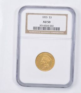 AU50 1855 $3.00 INDIAN PRINCESS HEAD THREE DOLLAR GOLD PIECE   GRADED NGC  1344