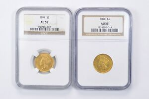 2  AU55 1854 & 1856 $3 INDIAN PRINCESS HEAD THREE DOLLAR GOLD   NGC  1519