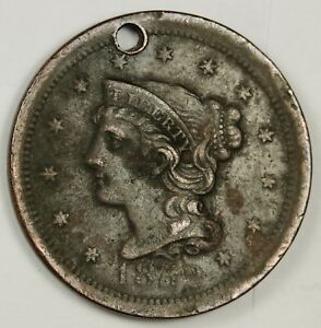 1852 LARGE CENT.  X.F. DETAIL.  HOLED.  134237