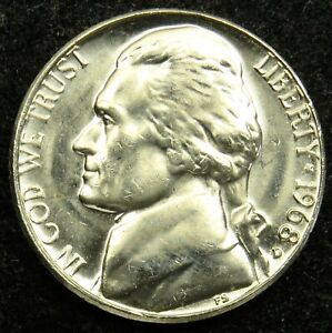 1968 D UNCIRCULATED JEFFERSON NICKEL BU  B01