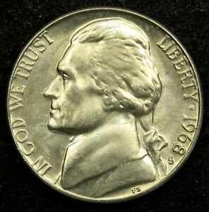 1968 S UNCIRCULATED JEFFERSON NICKEL BU  B04