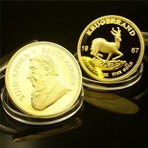 KRUGER AFRICA COIN PRESENT SOUTH GOLD COMMEMORATIVE COIN 1967 3EIK
