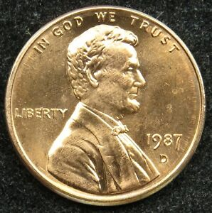 1987 D UNCIRCULATED LINCOLN MEMORIAL CENT PENNY BU  B01