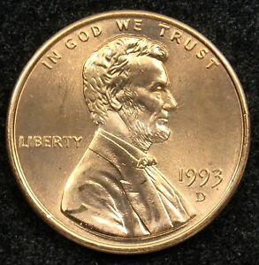 1993 D UNCIRCULATED LINCOLN MEMORIAL CENT PENNY BU  B05
