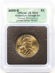 2000 D BURNISHED $1 ICG OFFICIAL US MINT MILLENNIUM COINAGE SET SACAGAWEA DOLLAR