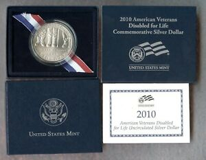 2010 W    AMERICAN DISABLED VETERANS COMMEMORATIVE SILVER DOLLAR   BU   BOX COA