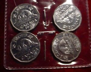 HI GRADE 1951 1952 1953 1954 STEEL 5 CENTS CANADA  4 COINS 1 SHIPPING PRICE