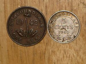 NEWFOUNDLAND 1943 C SILVER 5 CENTS & 1942 C SMALL CENT COIN LOT FINE NICE