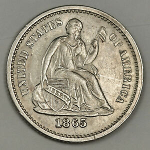 Click now to see the BUY IT NOW Price! 1865 S LIBERTY SEATED HALF DIME.  A.U. UNC.  132356