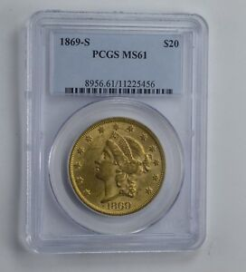 MS61 1869 S $20.00 LIBERTY HEAD GOLD DOUBLE EAGLE   GRADED PCGS  1564