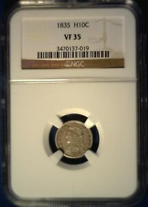 1835 CAPPED BUST HALF DIME NGC VF35 NICE & NATURAL