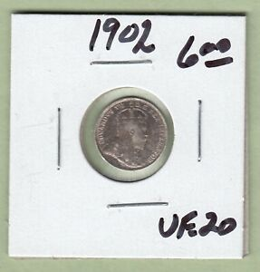 1902 CANADIAN 5 CENTS SILVER COIN   VF 20
