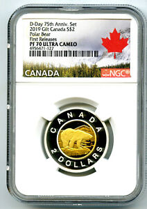 Click now to see the BUY IT NOW Price! 2019 CANADA $2 GILT SILVER PROOF POLAR BEAR TOONIE NGC PF70 UCAM FIRST RELEASES