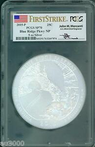Click now to see the BUY IT NOW Price! 2015 P BLUE RIDGE PARKWAY ATB 5 OZ SILVER PCGS SP70 JOHN MERCANTI FIRST STRIKE