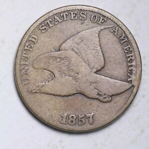 1857 MAJOR CUD OBV. FLYING EAGLE SMALL CENT CHOICE VG  E115 XPT