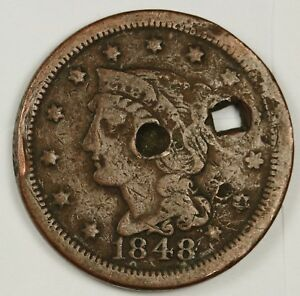 1848 LARGE CENT.  FINE DETAIL.  SQUARE HOLED.  134232