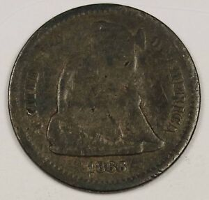1866 S LIBERTY SEATED HALF DIME.  CIRCULATED.  129970