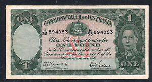 Click now to see the BUY IT NOW Price! 1942 AUSTRALIA ONE POUND   KING GEORGE VI WWII ERA BANKNOTE EXCELLENT CONDITION