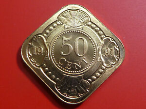 NETHERLANDS ANTILLES 50 CENTS 1991 SQUARE COIN