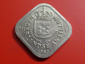 NETHERLANDS ANTILLES 5 CENTS 1980 SQUARE COIN