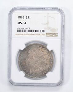 MS64 1885 MORGAN SILVER DOLLAR   BLUE TONED   GRADED BY NGC  0032
