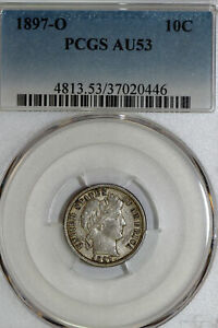 Click now to see the BUY IT NOW Price! BETTER DATE 1897 O BARBER DIME THAT PCGS GRADED AU53  STOCK : 37020446