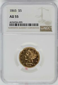 Click now to see the BUY IT NOW Price! 1865 $5 LIBERTY HALF EAGLE NGC AU55 CERTIFIED COIN JC110