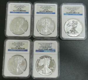 2011 P W S 25TH ANNIVERSARY SILVER EAGLE 5 COIN SET NGC PF70 MS70 EARLY RELEASE