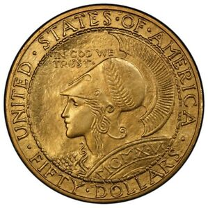 Click now to see the BUY IT NOW Price! PANAMA PACIFIC ROUND 1915 S $50 GOLD COMMEMORATIVE PCGS MS63  CAC