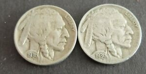 1936 LOT OF 2 USA INDIAN HEAD BUFFALO NICKEL COINS CIRCULATED CONDITION LOT12