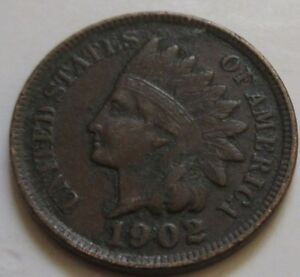 1902 UNITED STATES INDIAN HEAD SMALL CENT COIN. BETTER GRADE   RJ295