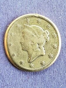 1852 O $1 US GOLD LIBERTY HEAD  COIN   SOLDER ON BACK OF COIN