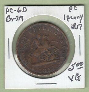 1857 BANK OF UPPER CANADA ONE PENNY TOKEN   BR719   VG