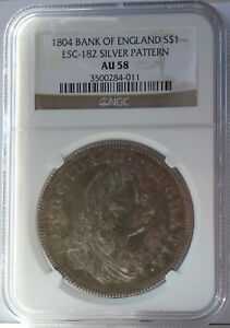 Click now to see the BUY IT NOW Price! 1804 BANK OF ENGLAND AU58 SILVER DOLLAR NGC AU58 ESC 182 PATTERN.   INDEED.