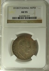 Click now to see the BUY IT NOW Price! 1910 ITALIAN SOMALILAND RUPIA.  NGC AU55.  ORIGINAL TONING AND GOOD DETAIL.