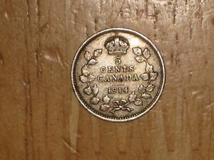 CANADA 1914 SILVER 5 CENTS COIN FINE NICE