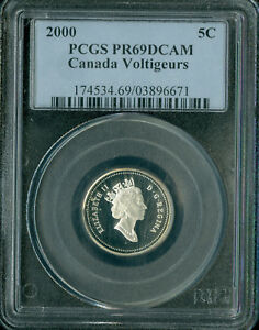 Click now to see the BUY IT NOW Price! 2000 CANADA VOLTIGEURS 5 SILVER CENTS PCGS PR69 SPOTTED 03896812