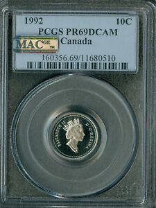 Click now to see the BUY IT NOW Price! 1992 CANADA 10 CENTS PCGS MAC PR69 ULTRA HEAVY CAMEO 2ND FINEST SPOTLESS