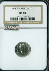 Click now to see the BUY IT NOW Price! 1998 W CANADA 10 CENTS NGC MAC MS68 FINEST GRADED  POP 3 SPOTLESS