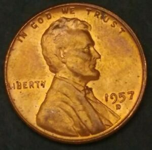 ITM 973  1957 D [RD] LINCOLN WHEAT CENT   MINT CNDTN WITH NICE TONING