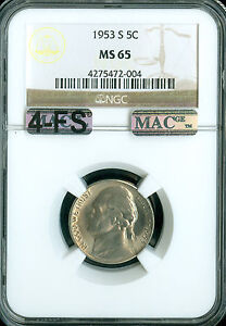 Click now to see the BUY IT NOW Price! 1953 S JEFFERSON NICKEL NGC MAC MS65 4FS PQ 2ND FINEST REGISTRY $25 000. IN FS
