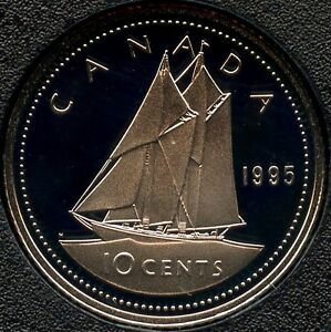 1995 CANADA PROOF 10 CENT COIN