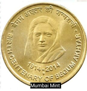 LOT OF 5   COMMEMORATIVE 5 RUPEES 2014 INDIA BEGUM AKTHAR UNC   MUMBAI MINT