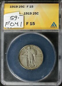 1919 STANDING LIBERTY QUARTER.  IN ANACS HOLDER.  F15.   F041