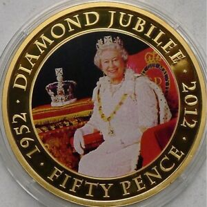JERSEY FIFTY PENCE 50P 2011 GOLD LAYERED PROOF DIAMOND JUBILEE  BB4