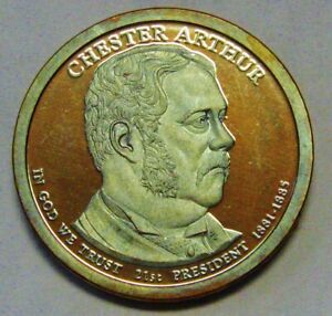 2012 S CHESTER ARTHUR PROOF PRESIDENTIAL DOLLAR OLIVE AND ROSE RAINBOW TONING