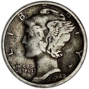 UNITED STATES COIN MERCURY DIME 1942. VF